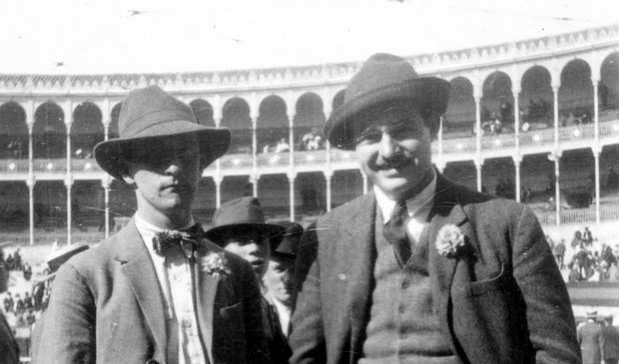Ernest Hemingway (right) and Robert McAlmon attend a bullfight at the Plaza de Toros de la Fuente del Berro in Madrid, Spain. (1923) Photo from the John F. Kennedy Presidential Library and Museum.