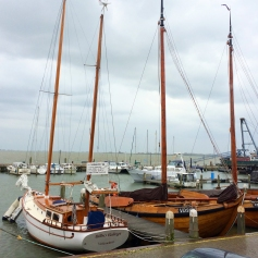 Volendam harbor with Marken in the distance