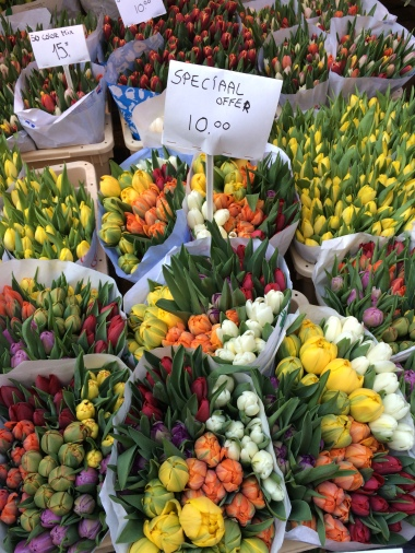 Tulips for sale at the Bloemenmarkt floating flower market