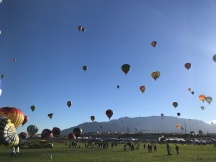 Balloons with the Sandia Mountains in the background